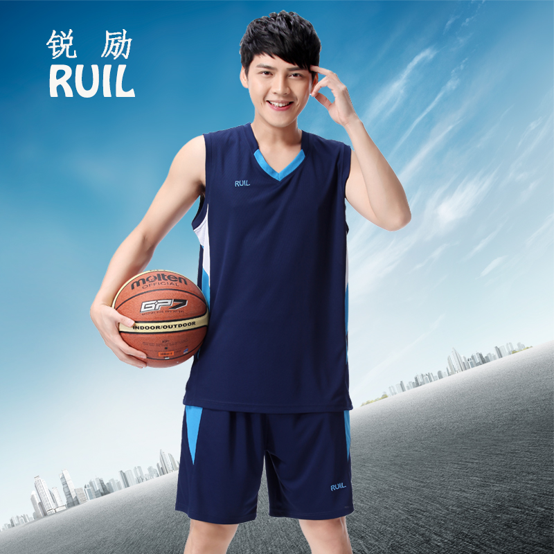 Basketball suit mens customized breathable vest shorts sportswear training group buying team uniform number with pocket