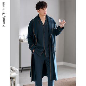 男士春秋款纯棉长袖男款长款睡袍