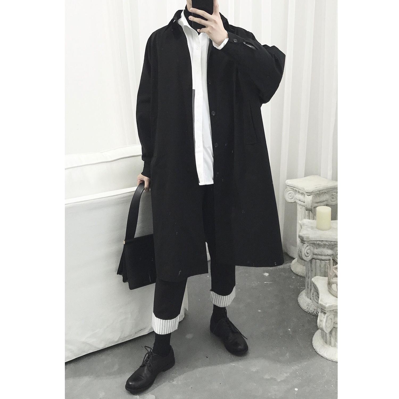 新款暗黑系长款简约文艺复古极简黑色风衣2018阿茶与阿古