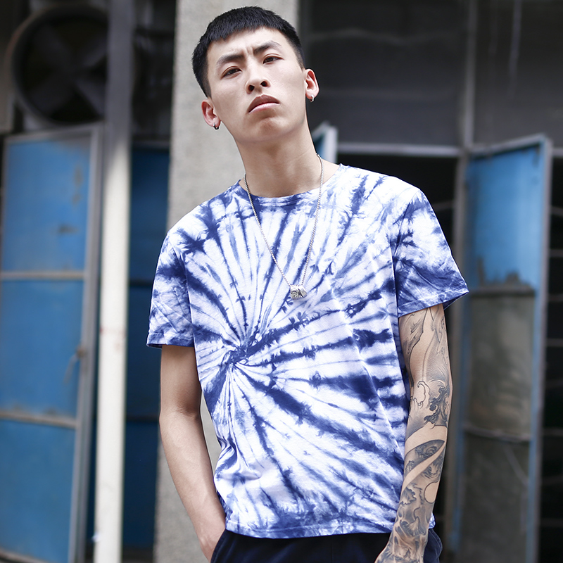 Short sleeve t-shirt mens Hong Kong fashion brand summer round neck large pure cotton loose fitting mens half sleeve beach T-shirt