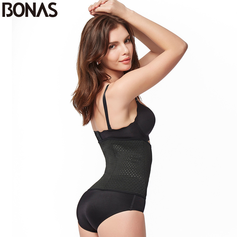 Bonas slim fit womens breathable corset belt womens postpartum dress solid plus size