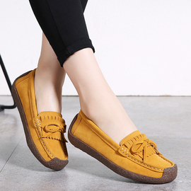 蜗牛鞋真皮豆豆鞋妈妈款韩版2020春季潮鞋百搭个性潮流中年女鞋子