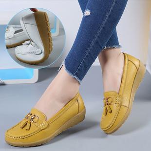 女防水皮面休闲坡跟平底牛筋底中年妈妈单鞋 子 舒适软底真皮豆豆鞋