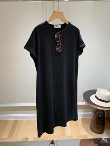 重磅主推 日本设计师JIN口埃及棉chao闪~烫钻铆钉黑色两色T恤裙