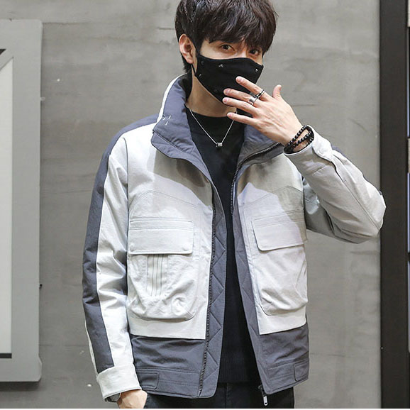 Physical store quality mens handsome stand collar color matching fashion work clothes light and warm white duck down coat down jacket