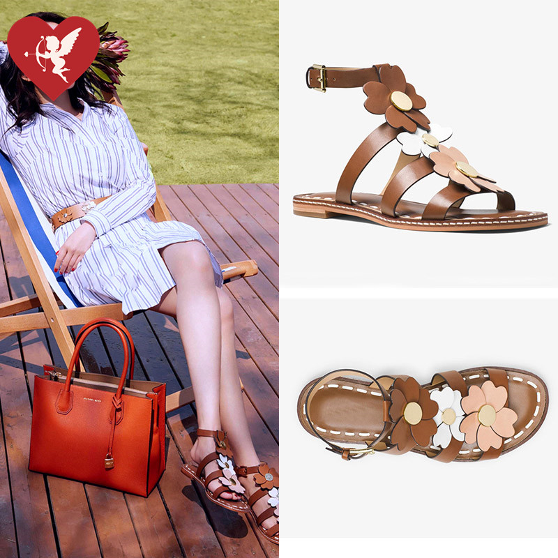 2017 new star same open toe sandals women MK flower flat sandals leather sandals student sandals