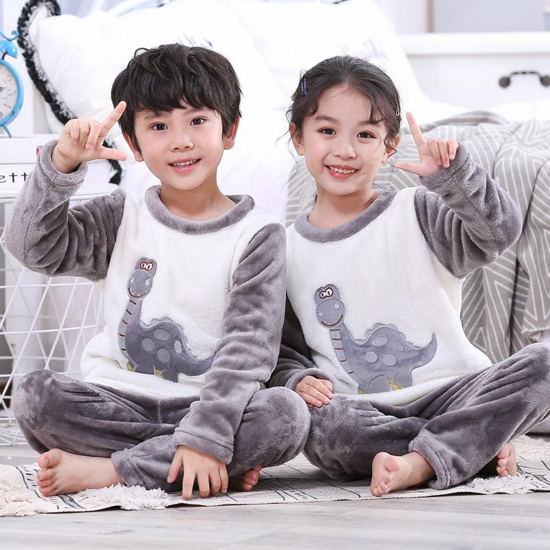 Autumn and winter childrens flannel pajamas girl baby boys home wear childrens girl boy cartoon velvet suit