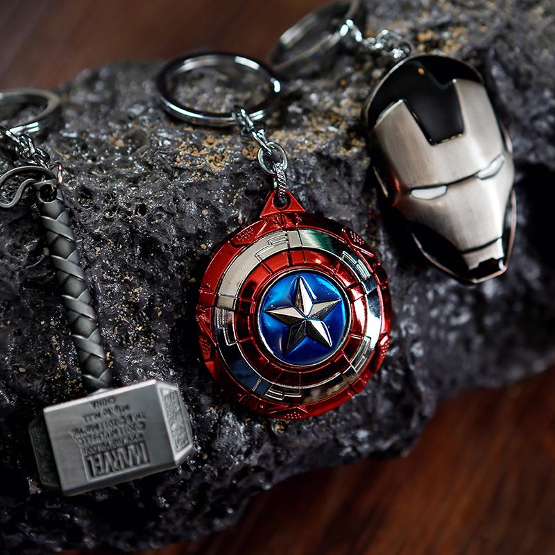 Avengers alliance Car Keychain US captain iron man spider man Metal Shield Pendant Keychain