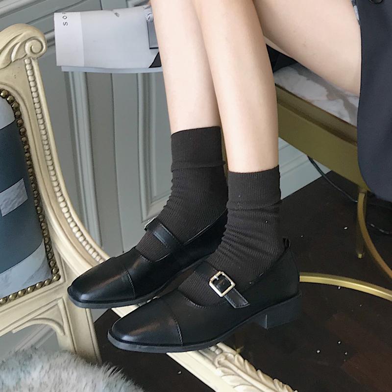 法式复古jk小皮鞋女方头中跟一字扣带玛丽珍赫本单鞋平底晚晚鞋黑