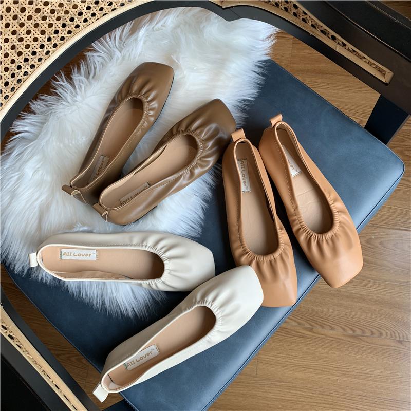 韩版秋冬奶奶鞋新品方头超纤软皮软底休闲开车鞋平底低帮鞋单鞋女图片
