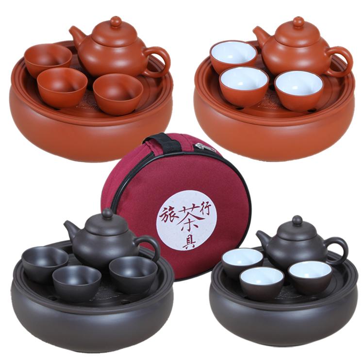紫砂功夫茶壶包套装旅行便携茶具车载旅游茶具整套泡茶陶瓷小茶具