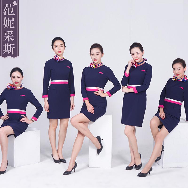 美容师工作服女套装修身高端美容院连衣裙中长袖空姐制服春夏天季