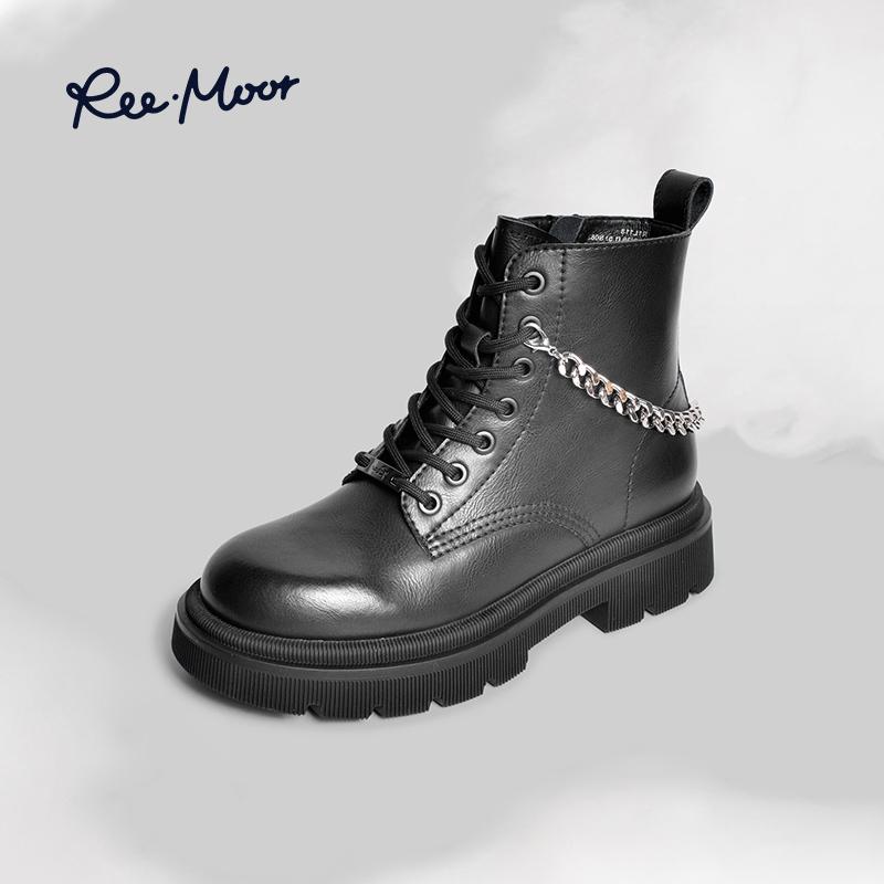 【薇娅推荐】reemoor马丁靴女春秋短筒单靴2021新款厚底爆款短靴