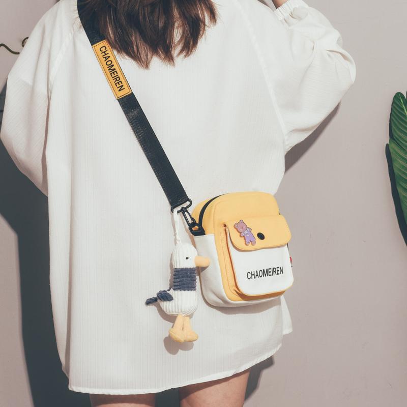 可爱小包包女2021新款潮元气少女学生手机包日系小清新斜挎帆布包