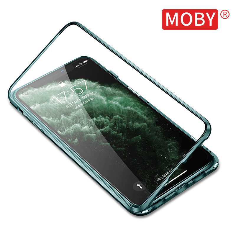 Double sided glass Moby iPhone 11pro Max case Apple 11 case 11promax all inclusive male iPhone fall proof Maxpro magnetic metal Max transparent I female