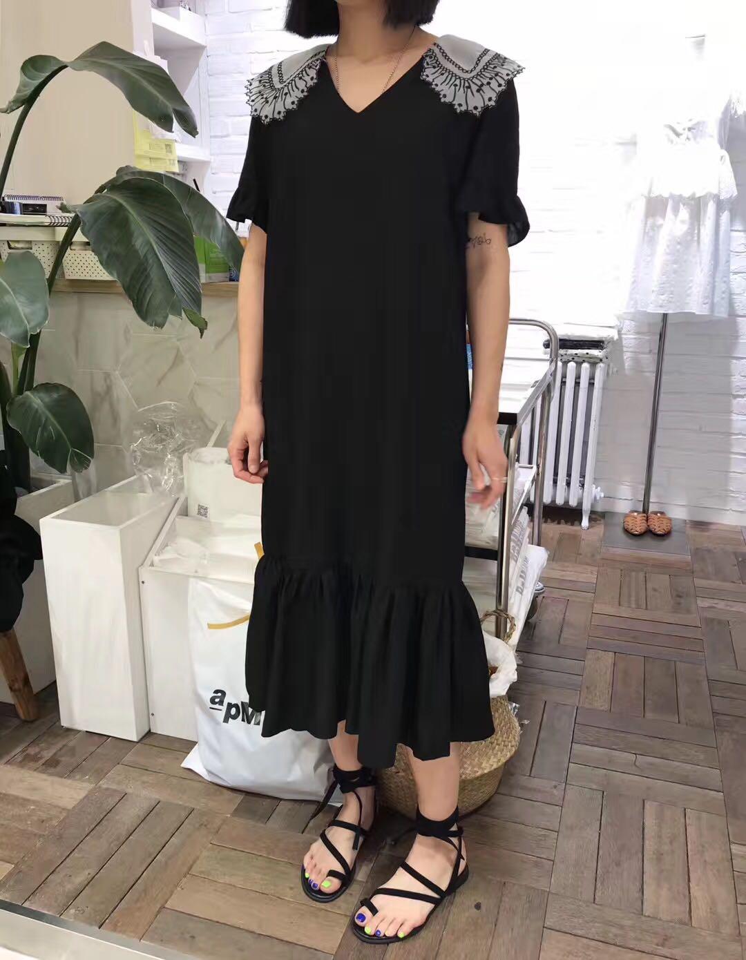 (用5元券)韩国东大门2019夏季新款v领连衣裙