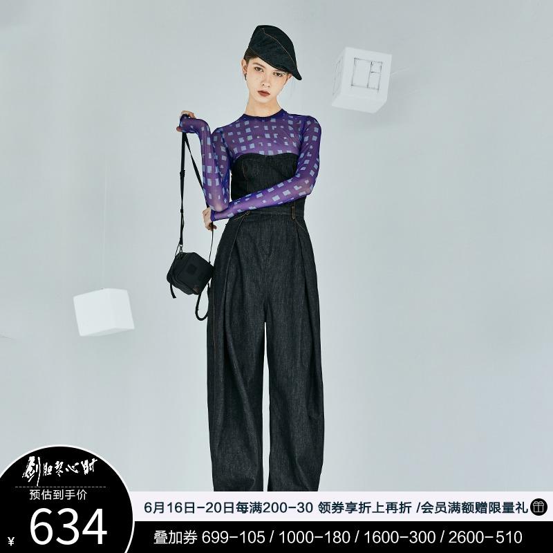 日着原创设计女装2021年夏季新款 百搭抹胸牛仔连体裤女连体衣