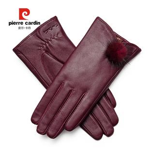 皮尔卡丹女士羊皮触屏加绒真皮手套