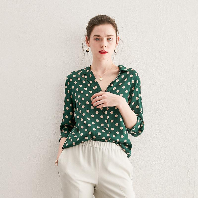 奢贵质感绿色波点v领女真丝衬衫包邮