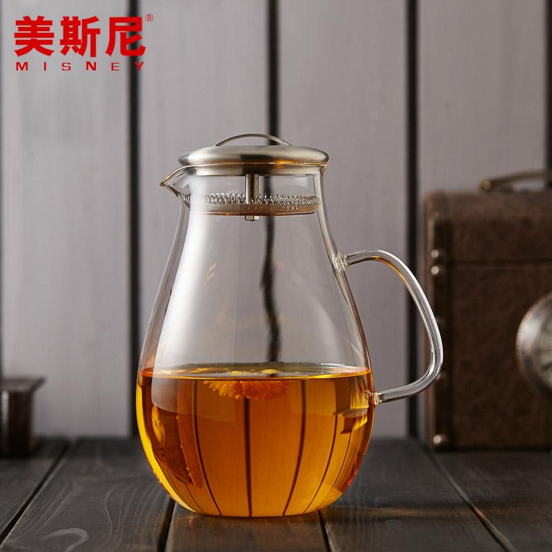 美斯尼 耐熱玻璃 涼水杯涼水壺大容量水具 耐高溫玻璃水壺 冷水壺