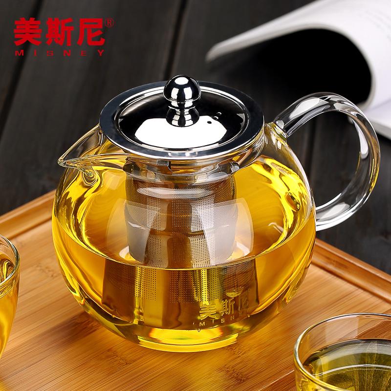 美斯尼 加厚花茶壺玻璃泡茶壺不鏽鋼過濾養生壺圓趣耐高溫水壺