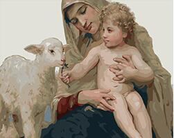 DIY digital oil painting abstract figure hand painted colouring oil painting mother, child and lamb gx6982