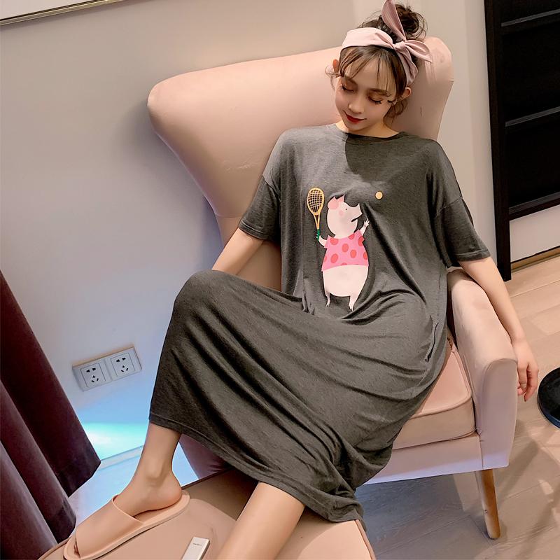 睡裙夏季薄款莫代尔短袖小猪学生宽松可爱韩版长款短袖少女睡衣热销36件限时抢购