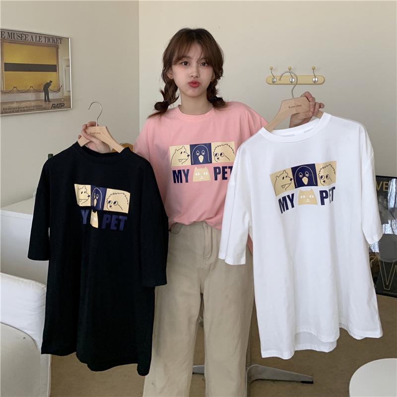 实拍6535棉2021夏季新款宽松短袖T恤女韩版学生大码圆领半袖上衣