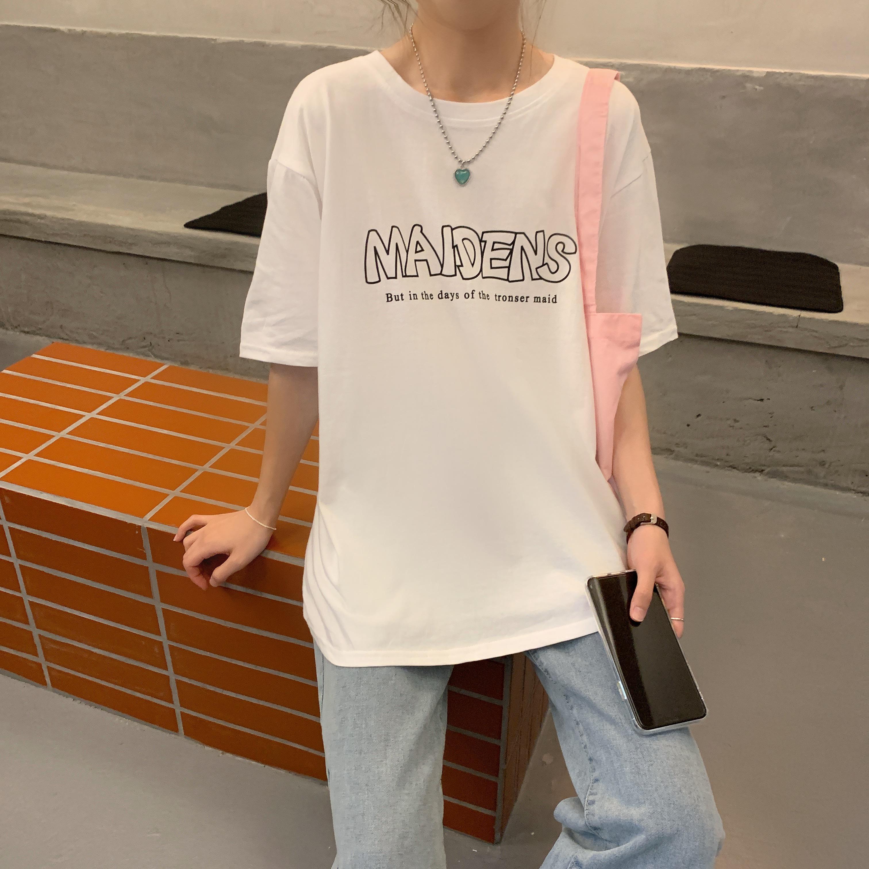 实拍纯棉 2021夏季新款韩版原宿风创意字母学生短袖t恤女宽松上衣