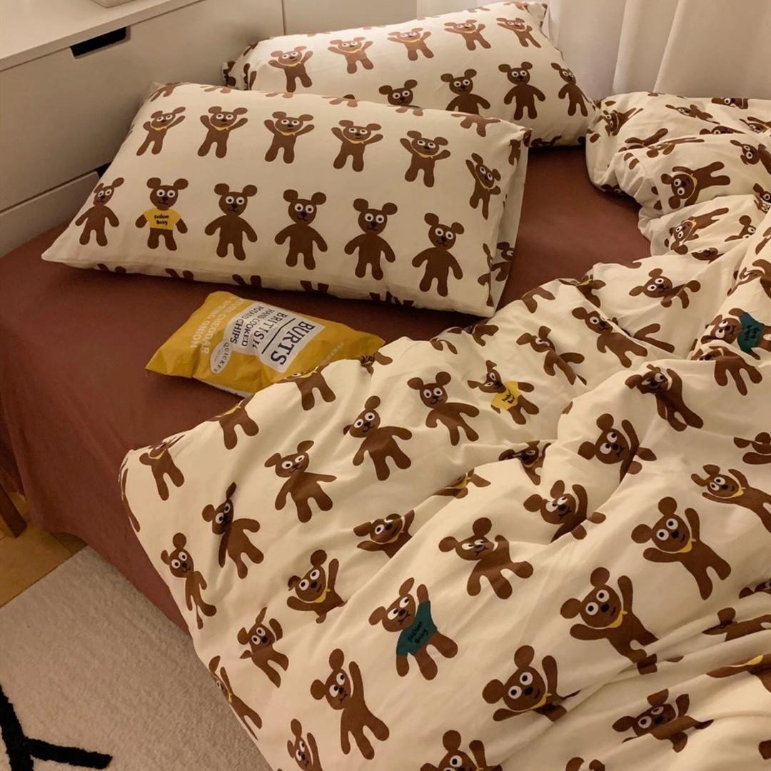 ins裸睡超柔针织天竺棉四件套可爱熊婴童三件套纯棉A类床笠款床品