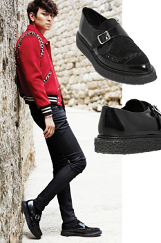 Yuno South Korea is now purchasing hand-made GD quanzhilong thick soled pointed leisure shoes monk shoes mens shoes