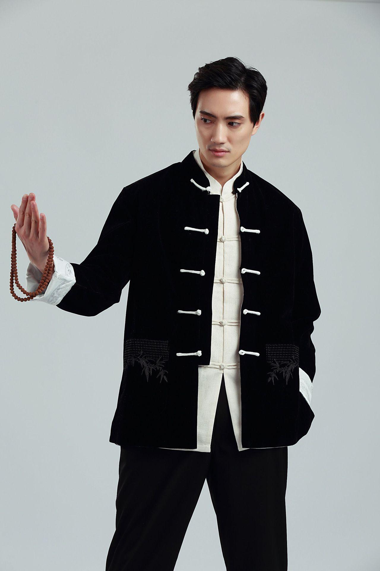 维纳斯唐装男长袖丝绒双面2388-3民族风亚麻唐装中国风中式男装