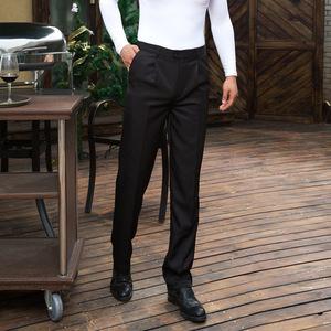 正品 男式西裤厨师休闲裤男装工作服职业装四季中年下装工装制服