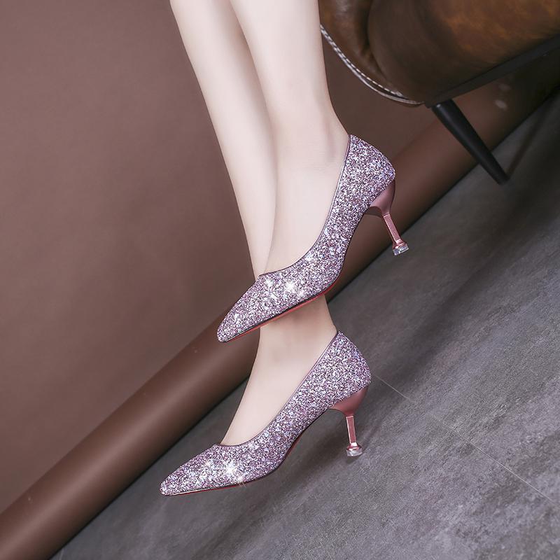 2021春夏季新款女鞋高跟鞋韩版潮时尚甜美女性职业工作鞋