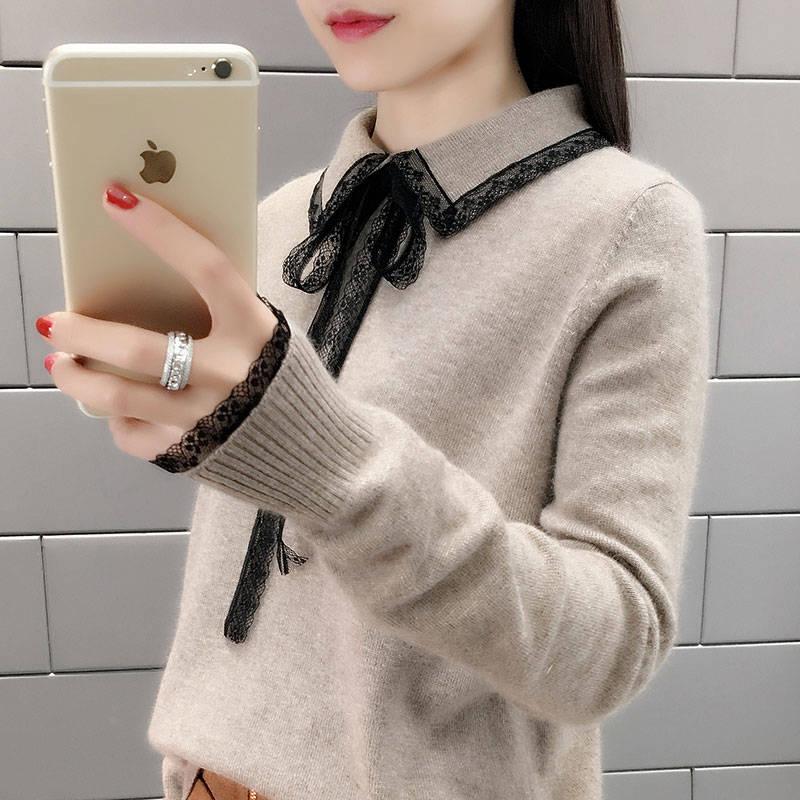 2019新款女装秋冬装内搭长袖针织衫加绒加厚打底毛衣韩版宽松上衣