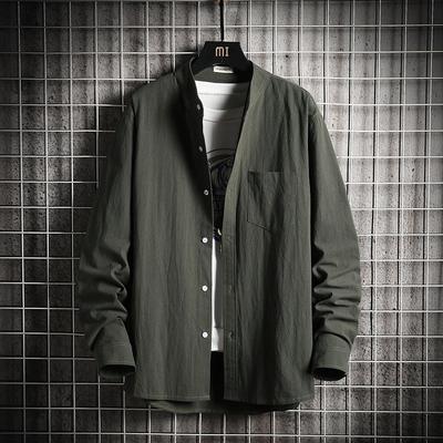 2020 春季新款 日系网格挂拍大码立领纯色长袖衬衫 HC20034-P40