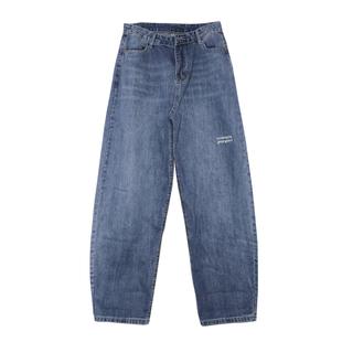 UN 淺色牛仔褲女寬鬆2020韓版春夏復古高腰直筒闊腿墜感老爹褲子