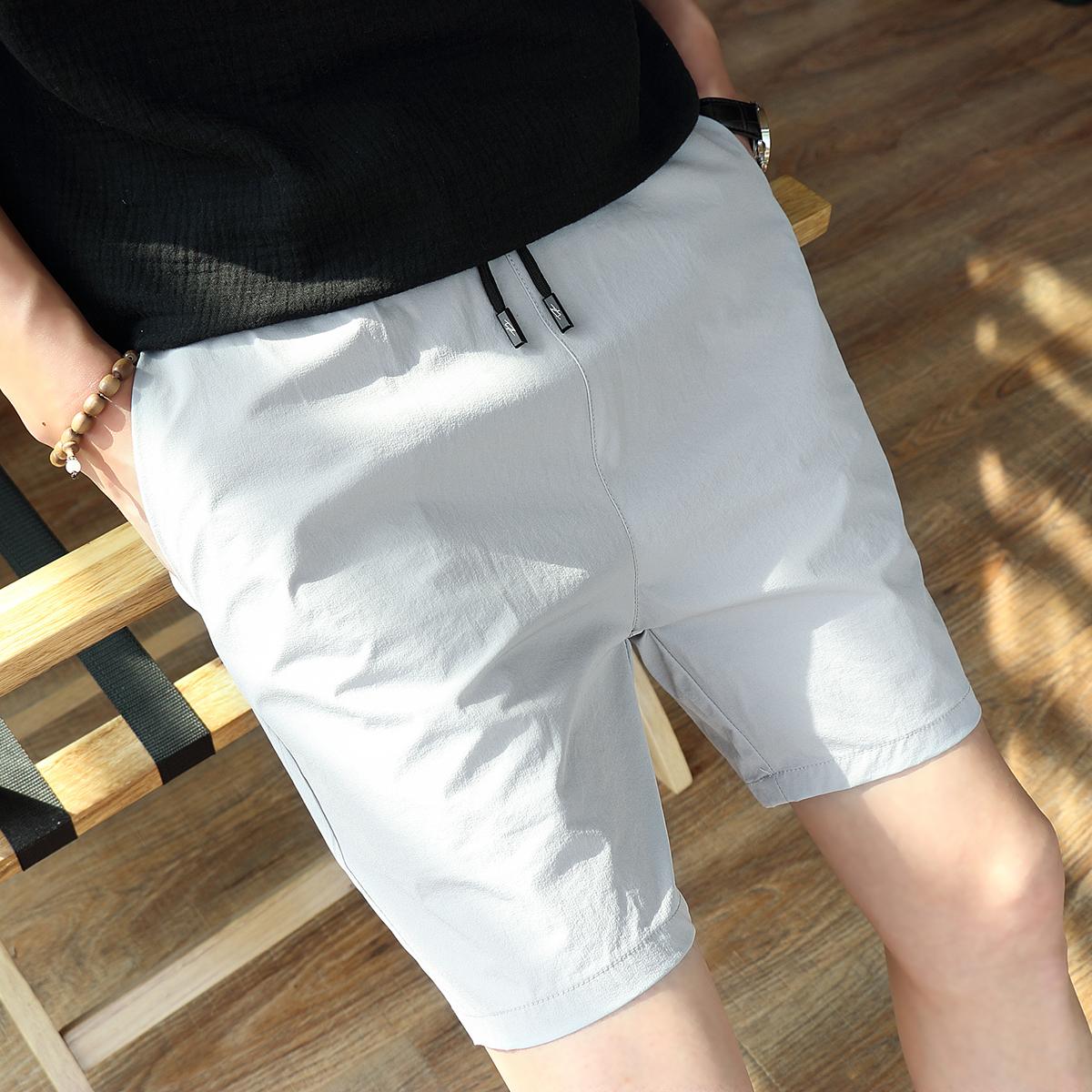 LES帅T林弯弯纯色休闲短裤男修身速干五分裤薄日系XS码26小码男裤