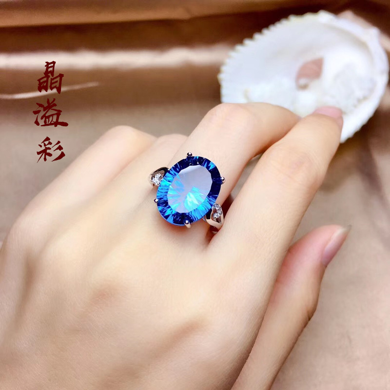 S925 Sterling Silver gold-plated inlaid gem ring female high imitation London Blue Topaz sapphire crystal color gem