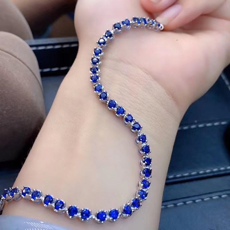 新款蓝宝石手链 简约经典款 s925银镀18K金 时尚大方 长度可调节