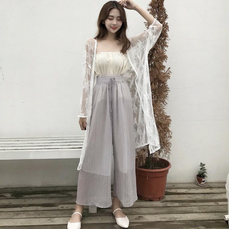 夏装女装韩版中长款气质甜美花边透视防晒衣披肩开衫空调衫蕾丝衫