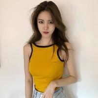 Летнее платье новая коллекция корейская версия Шикарный ветер сексуальный большой спиной без Рукав ударил цвет сторону короткий жилет без Футболка с рукавом верх Одежда женщина