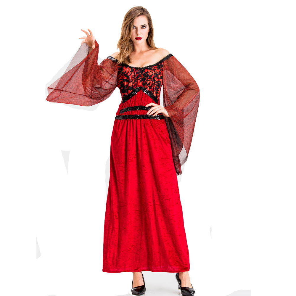 Halloween Costume Adult vampire earl costume Queen Costume Red Devil one shoulder dress