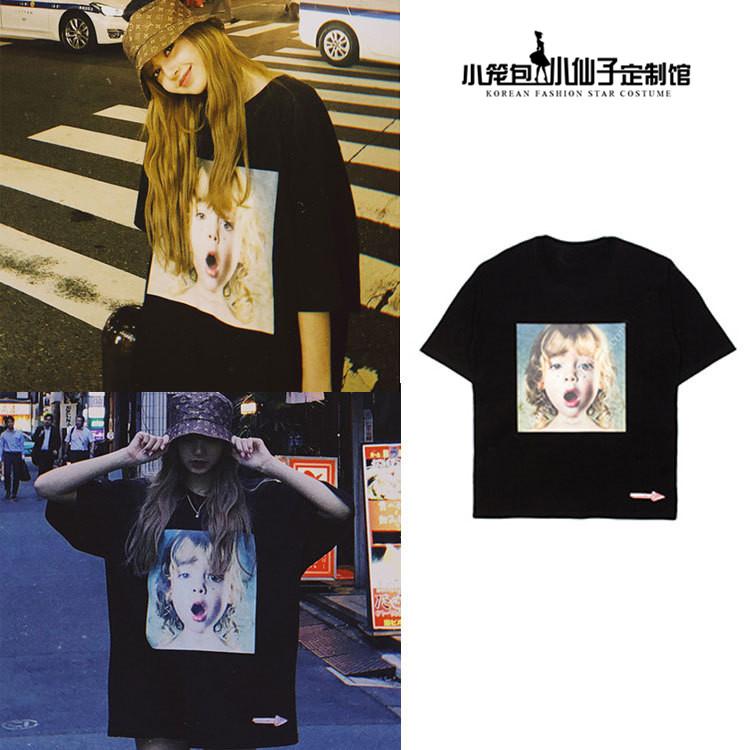 韩国街头林彦俊Lisa同款小女孩印花短袖T恤ins个性黑色宽松情侣潮