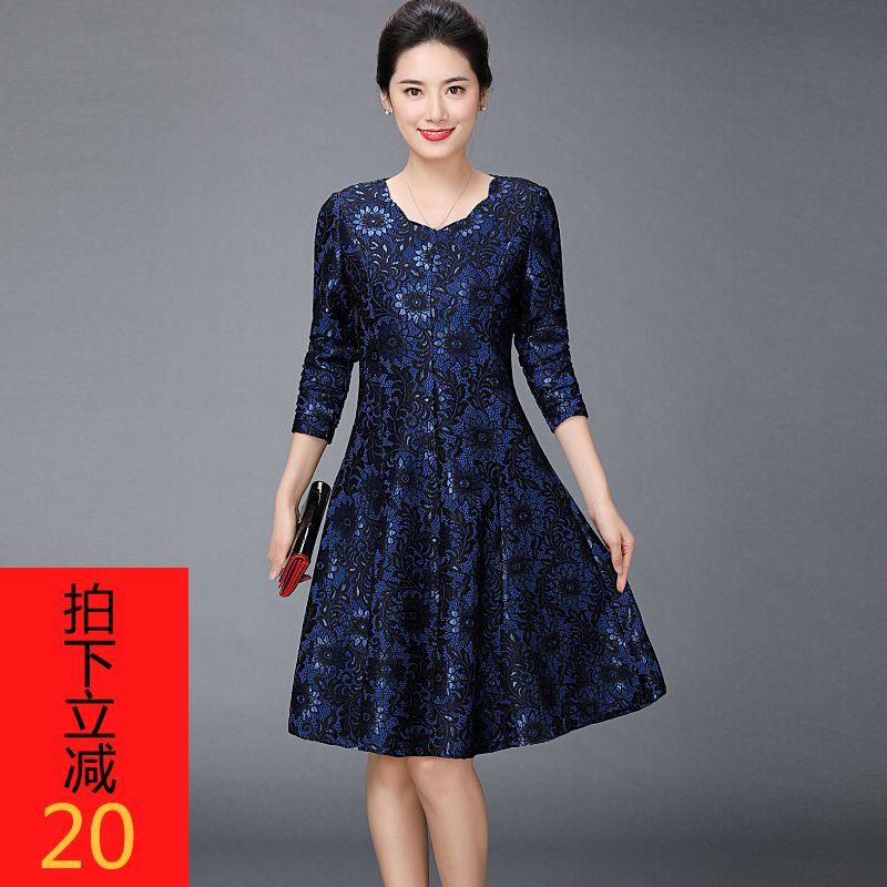 秋冬装连衣裙加厚长袖2020新款高贵夫人妈妈过膝气质品牌洋气中年