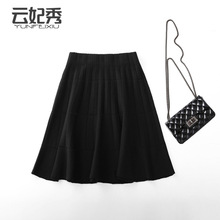 Elastic waist woolen skirt women's short slim A-line skirt fat mm with high waist and big swing umbrella skirt in autumn and winter 2019
