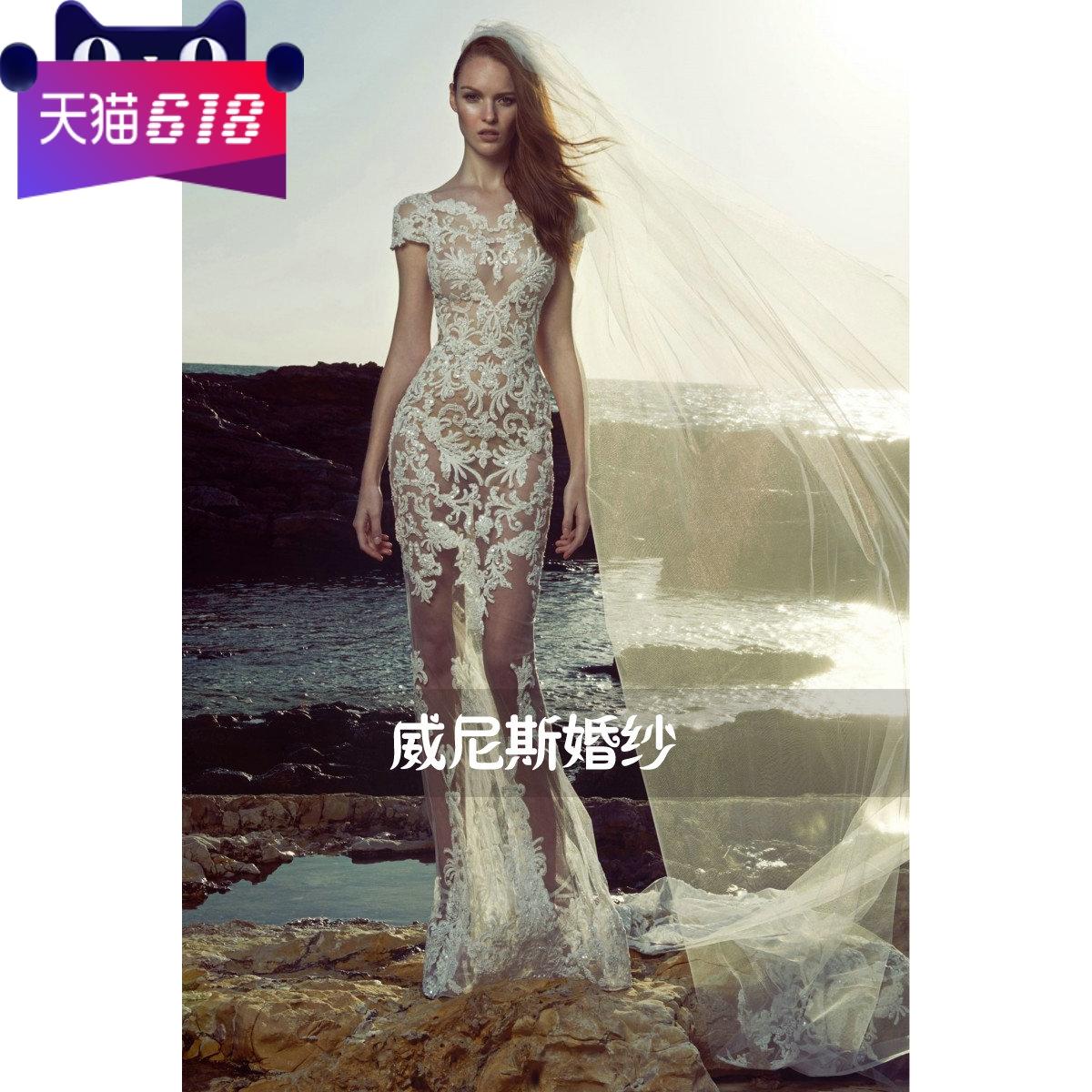 zuhairmurad 2020新款韩版修身蕾丝鱼尾齐地拖尾新娘刺绣透视婚纱