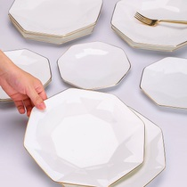 Nordic Phnom Penh bone china plate plate creative white plate home ceramic tableware set octagonal