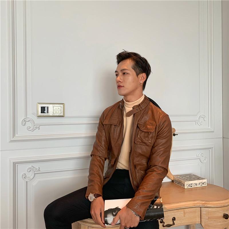 韩国韩版帅气立领皮衣夹克男士复古个性PU皮衣时尚百搭机车皮衣潮