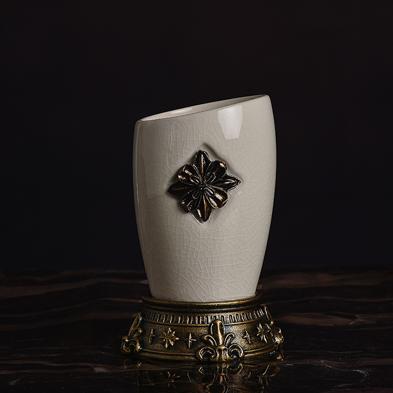 欧式高品质树脂复古冰裂纹陶瓷漱口杯套装家居简约情侣刷牙杯包邮